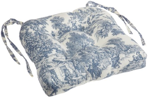 Victoria Park Toile Cushioned Chair Pad, Blue