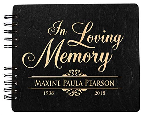 Guest Book Engraved (in Loving Memory Funeral Guestbook 8.5x7 Memorial Sign in Guest Book Rustic Engraved Book of Condolence Wooden Stain Remembrance Registry)