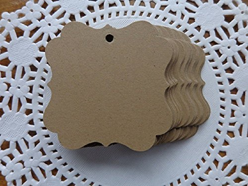 "Kraft Brown Tags - Fancy Square 2"" Paper Tags - Gift Tags - Price Tags - Two Inch Size (Set of 75 tags) from Honeybear Party Boutique"