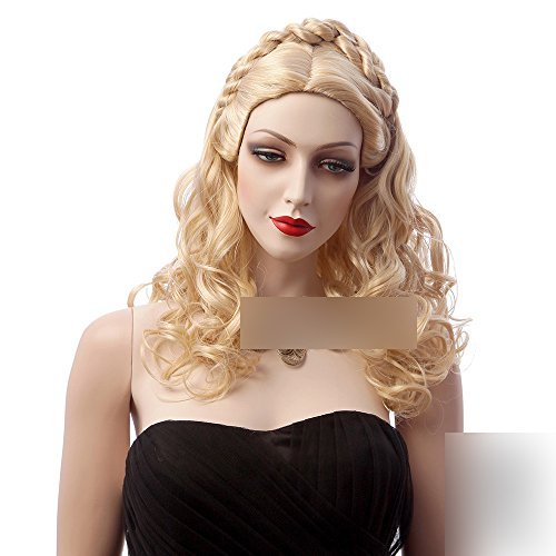 Womens Girls Fashion 18' Medium Light Blonde Wavy Curly Synthetic Hair Wigs for Cinderella Movie Adult Costume Wig