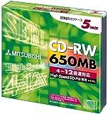 三菱化学メディア CD-RW 650MB 4~12倍速 5枚 スリムケース SW74EU5