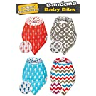 Bestonville Bandana Drool Baby Bibs, Reversible Burp Cloth Bibsters for Girls & Boys with Chevron, Arrows, Cross & Sea Horse Pattern (Red, Blue, Gray & White Color) Highest Quality 100% Organic Cotton