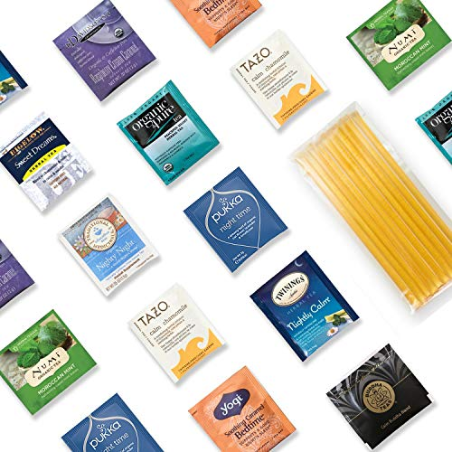 Sleep Better Tea Kit - 40+ Servings Night Time Herb Tea Assortment with 10 Honey Sticks. Perfect Sampler Gift for Those Who Look For a Good Night's Sleep. Mother's Day ()