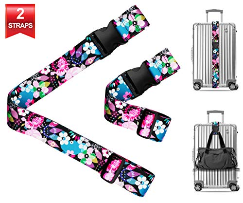 Wild Flowers Blossom Travel Luggage Strap Suitcase Security Belt. Heavy Duty & Adjustable. Must Have Travel Accessories. TSA Compliant. 1 Luggage Strap & 1 Add A Bag Strap. 2 Piece Set.