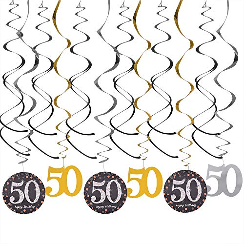 50th Birthday Hanging Swirls Pack - 50 Birthday Decorations Whirl Streamers Sparkling Silver Gold Supplies