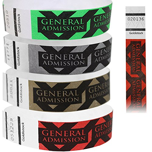 "Goldistock 3/4"" Tyvek Wristbands General Admission- 400 Ct. Variety Pack (100/Color): Neon Green, Neon Red, Metallic Gold & Metallic Silver"