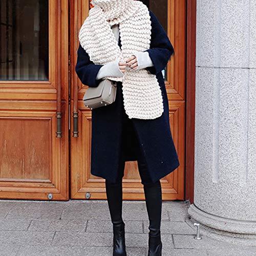 4460ad5ea058 Manuelle Écharpe Épaisse Tricot Vintage Foulard Grosse Maille Chaud Couleur  Unie Automne Hiver Femme (beige)  Amazon.fr  Vêtements et accessoires