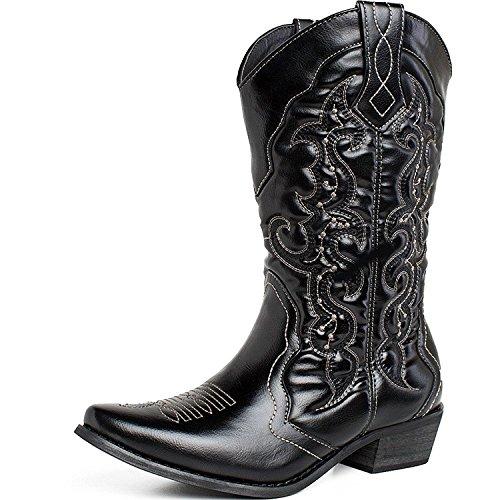 SheSole Women's Western Cowboy Cowgirl Boot, Black, 9.5 B(M) (Black Calf Western Boot)