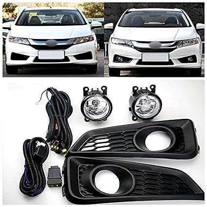 Amazon.com: For Honda City 2014 2015 2016 Exterior Car Accessoires Car Front Fog Lamp Light Refit 1set Black: Home Audio & Theater