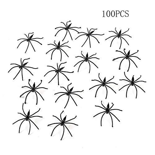 Anyumocz 100PCS Fake Spider Joke Toys for Prank,Plastic Fake Spider,Plastic Realistic Spiders,Spiders for Halloween Party]()