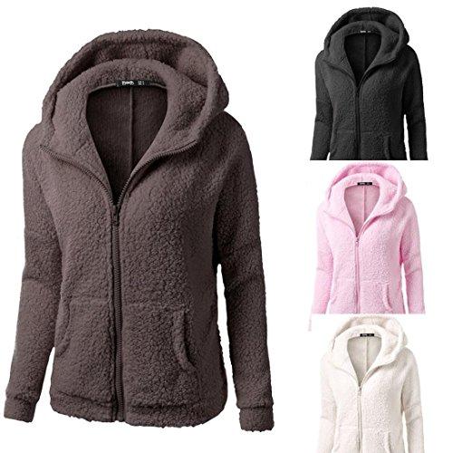 Coat Jacket Warm Fleece Wool Up Misaky Women's Winter Prink Zipper Hoodie UYaRXzxn