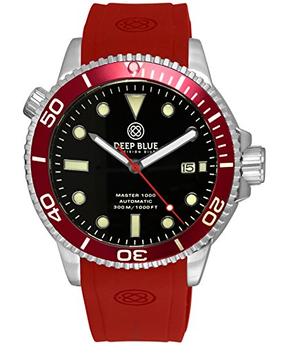 Deep Blue MASTER 1000 Automatic Diver Watch Red strap Red bezel Black Dial