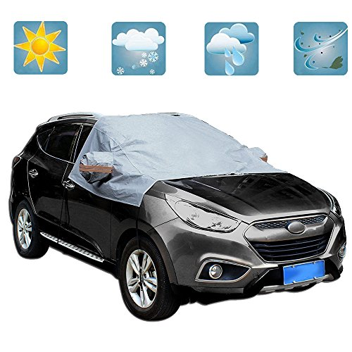 GZQ Car Half Cover Windshield Cover for Snow with Storage Pouch