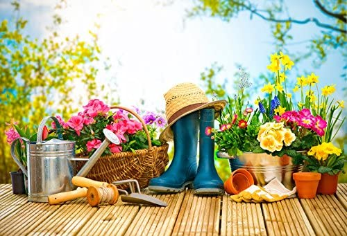 Spring Gardening Photography Background 10x6.5ft Wood Terrance Spring Flowers Glove Watering Pot Green Boots Blossoms White Wood Fence Bokeh Background Wood Floor Texture