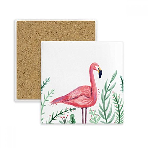 (Tropical Flamingo Animal Plants Square Coaster Cup Mug Holder Absorbent Stone for Drinks 2pcs Gift)