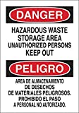 Brady 14'' X 10'' X .035'' Black/Red On White B-555 Aluminum Safety Sign''HAZARDOUS WASTE STORAGE AREA UNAUTHORIZED PERSONS KEEP OUT/AREA DE ALMACENAMIENTO DE DESECHOS DE MATERIALES PELIGROSOS. PROHIBID''