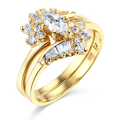 TWJC 14k Yellow Gold SOLID Wedding Engagement Ring and Wedding Band 2 Piece Set - Size 7.5