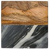 Thirstystone NMKA2274C Gray Marble/Mango Wood Coasters (Set of 4), Multicolor