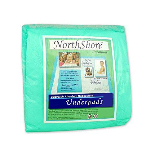 NorthShore Premium, 36 x 36, 40 oz, Green Super-Absorbent Underpads (Chux), Ultra Large, Case/60 (6/10s)