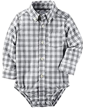 Carter's Baby Boys' Button Front Checkered Poplin Bodysuit