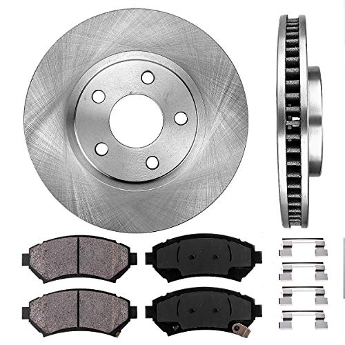 FRONT 303 mm Premium OE 5 Lug [2] Brake Disc Rotors + [4] Ceramic Brake Pads + Clips ()