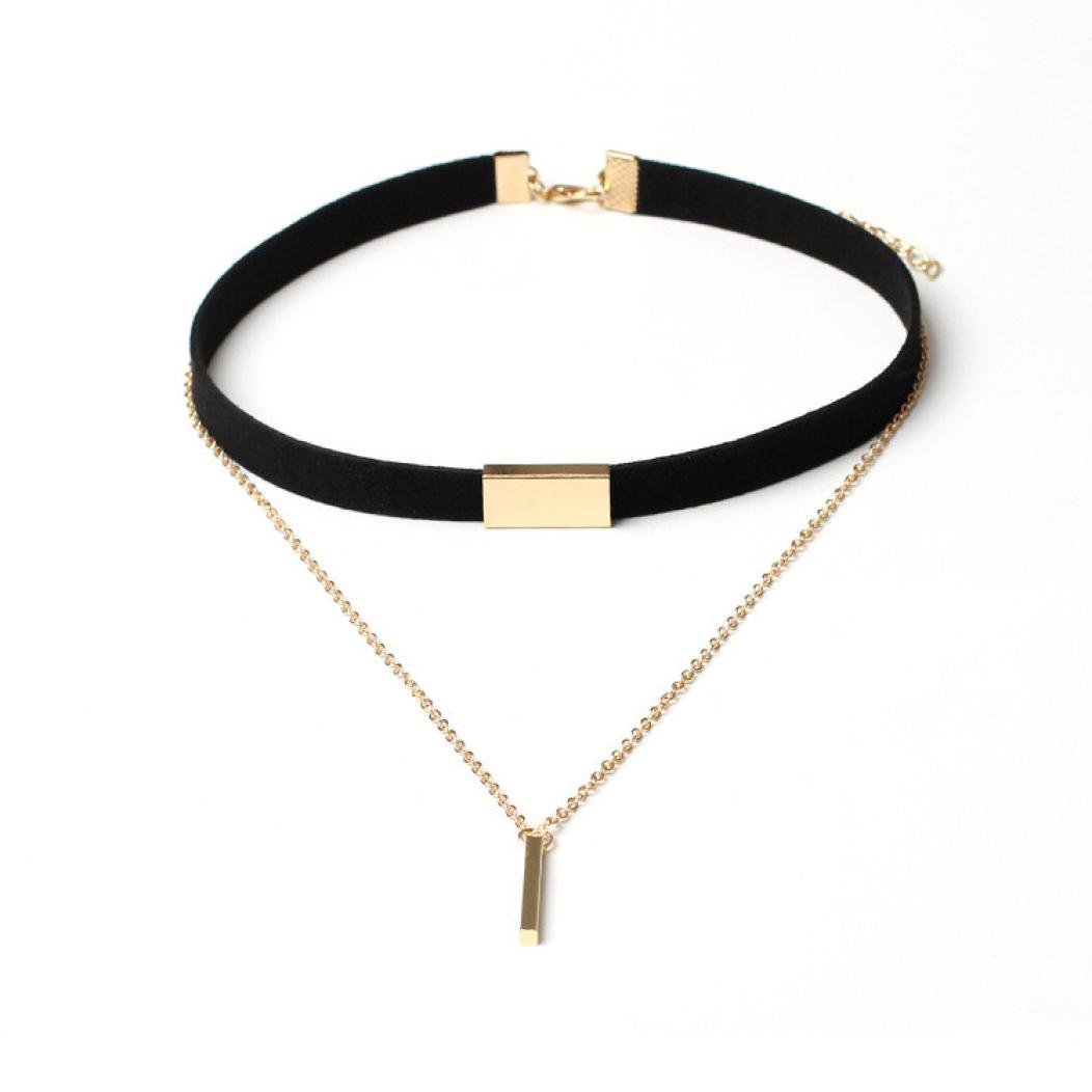 Start Girls Women Chokers + Gold Chain Necklace Collar Couble Jewelry (Black)