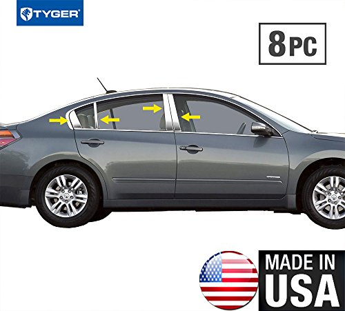 Tyger Auto Made in USA! Works with 2007-2012 Nissan Altima 4Door Stainless Steel Chrome Pillar Post Trim 8PC ()