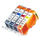 INKUTEN © New Compatible Canon CLI-221, Canon 221, Set of 4 High Yield Ink Cartridges: 1 Cyan, 1 Magenta, 1 Yellow, 1 Small Black for use with Canon PIXMA iP3600, PIXMA iP4600, PIXMA iP4700, PIXMA MP560, PIXMA MP620, PIXMA MP620B, PIXMA MP640, PIXMA MP640R, PIXMA MP980, PIXMA MP990, PIXMA MX860, PIXMA MX870. Ink Cartridges CLI-221C, CLI-221M, CLI-221Y, CLI-221BK