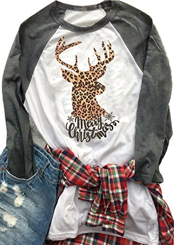 Women Christmas Deer Round Neck T Shirt Long Sleeve Letters Print Tops size US M/Tag L (Round Neck Deer)