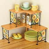 2 Tier Corner Metal Space Saving Shelf Organizing Display Rack (sunflower)