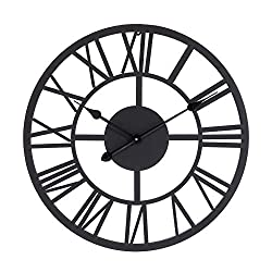 Lechesis Black Metal Wall Clock - 22 European Retro Decor Clock with Large Roman Numerals - Soundless Battery Operated Analog Metal Decorative Wall Clock for Home, Living Room