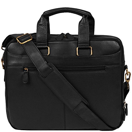 Wilsons Leather Mens Top Zip Brief W/ Brass Hardware Black Matte