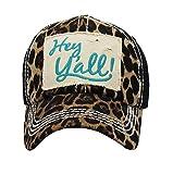 YK Adjustable Hey Yall Country Western Vintage Distressed Look Hat Cap Jp (Cheetah Leopard Turquoise Blue Black)