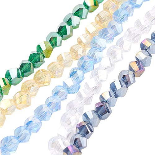 NBEADS 10 Strands AB Color Plated Faceted Twist Mixed Color Electroplate Glass Beads Strands with 4x4x4mm,Hole:1mm,about 100pcs/strand ()
