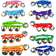 Yookat 20 Pcs Wrist Band Jingle Bells Musical Rhythm Toys Ankle Bells Instrument Percussion for School Performance Children Kids Tyo 9 Colors