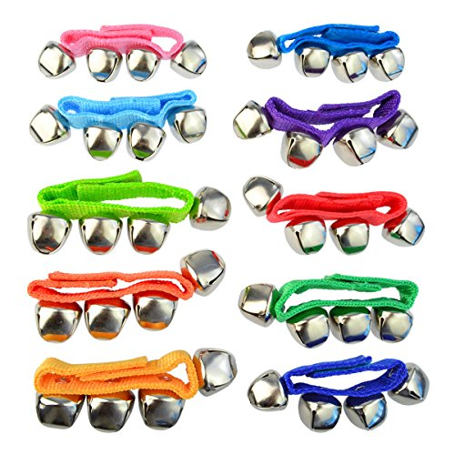 Yookat 20 Pcs Wrist Band Jingle Bells Musical Rhythm Toys Ankle Bells Instrument Percussion for School Performance Children Kids Toy Random 5 Colors