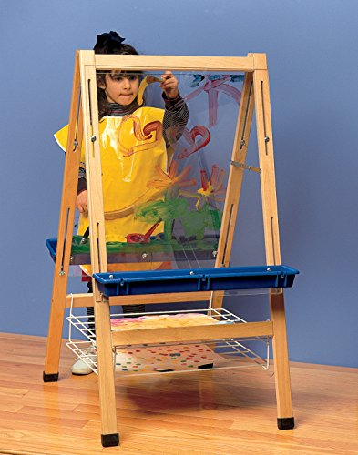 Childcraft 272203 Double-Sided Easel with Clear Panels, 44-1/2'' x 24'' x 26-5/8'', Natural Wood Tone by Child Craft