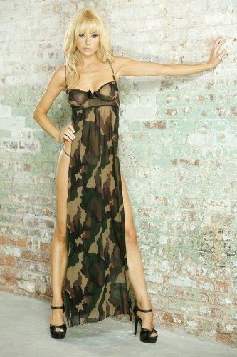 FANTASY SS0018 Split Side Long Gown & G-string