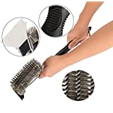 CO-Z Stainless Steel 3 in 1 Grill Brush and Barbecue Scraper 20 Inches with Triple Head Scrubber and Cleaner