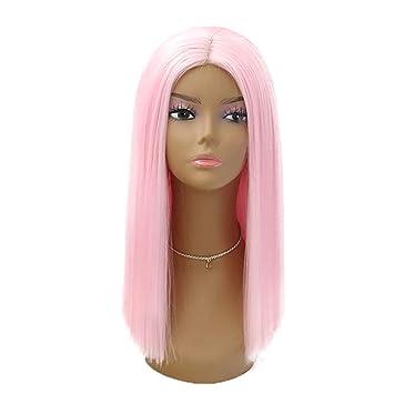Mujer De Fibra De Encaje Peluca Rosa Medio Largo Pelo Recto Alta Temperatura Seda Confort Elástico