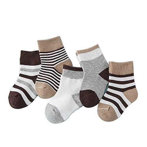 FQIAO Kid Sock 4-6 Years 5Pack Cotton Stripe Unisex Autumn Winter
