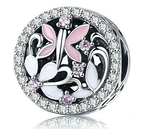 EVESCITY Pink Butterfly Amongst White Daisey Flowers Bead for Charms Bracelets ♥ Best Jewelry Gifts for Women Her ♥