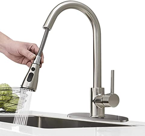 Hoimpro Commercial High-Arc Single Handle Kitchen Sink Faucet With Pull Out  Sprayer, Modern Rv kitchen Faucet With Pull Down Sprayer, 3 Function ...