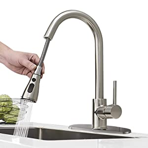 Hoimpro Commercial High-Arc Single Handle Kitchen Sink Faucet With Pull Out Sprayer, Modern Rv kitchen Faucet With Pull Down Sprayer, 3 Function Laundry Faucet, Brass/Brushed Nickel(1 or 3 Hole)