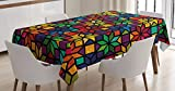 Geometric Tablecloth by Ambesonne, Windows Glass Inspired Rainbow Colored Image with Flowers Like Artwork Print, Dining Room Kitchen Rectangular Table Cover, 60 W X 84 L Inches, Multicolor