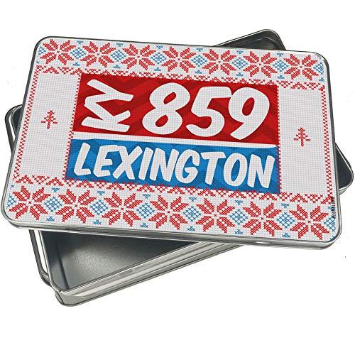 NEONBLOND Cookie Tin Box 859 Lexington, KY red/blue Vintage Christmas Pattern -