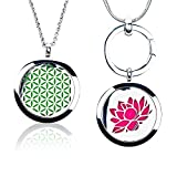 Essential Oil Diffuser Necklace by Cammassia | Aromatherapy Gift Set of 2Pcs Stainless Steel Locket Pendant Jewelry Adjustable 24