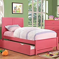 247SHOPATHOME IDF-7941PK-T Childrens-Bed-Frames, Twin, Pink