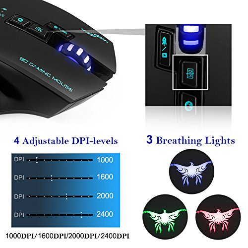 Combatwing Wireless Wired Gaming Mouse,2.4GHz Rechargeable Optical Mice with USB Receiver,3 Color Breathing Lights,4 Adjustable DPI Levels,8 Buttons for Laptop PC Mac Pro and Computer(Black)
