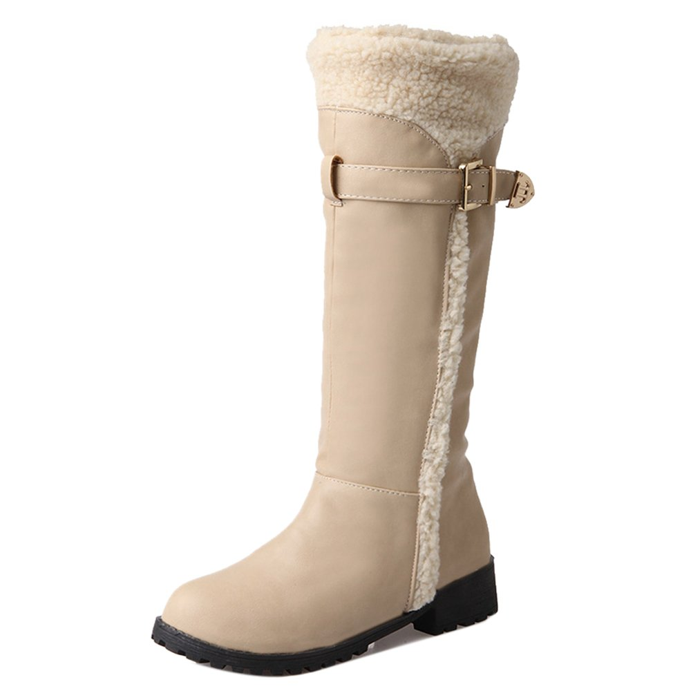 RizaBina Women Comfort Warm Lined Winter Tall Boots Belt B076BP4T7L 6.5 US = 24 CM|Beige